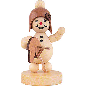 Small Figures & Ornaments Wagner Snowmen Snowgirl with Hobbyhorse - 9 cm / 3.5 inch