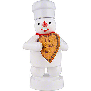 Small Figures & Ornaments Zenker Snowmen Snowman Baker with Gingerbread Heart - 8 cm / 3.1 inch