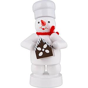Small Figures & Ornaments Zenker Snowmen Snowman Baker with Gingerbread House - 8 cm / 3.1 inch