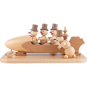 Small Figures & Ornaments Wagner Snowmen Snowman Four-Man Bobsled with Anschieber with Zylinder - 13 cm / 5.1 inch