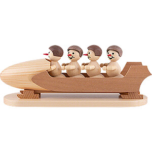 Small Figures & Ornaments Wagner Snowmen Snowman Four-Man Bobsled with Helmet - 10 cm / 3.9 inch