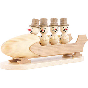 Small Figures & Ornaments Wagner Snowmen Snowman Four-Man Bobsled with Zylinder - 10 cm / 3.9 inch