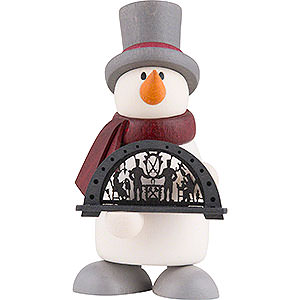 Small Figures & Ornaments Fritz & Otto (Hobler) Snowman Fritz with Candle Arch - 9 cm / 3.5 inch