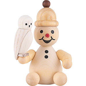 Small Figures & Ornaments Wagner Snowmen Snowman Junior with Snowy Owl sitting - 7 cm / 2.8 inch