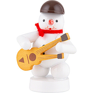 Small Figures & Ornaments Zenker Snowmen Snowman Musician with Double Neck Guitar - 8 cm / 3.1 inch