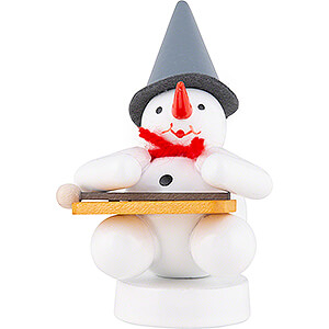 Small Figures & Ornaments Zenker Snowmen Snowman Musician with Hackbrett - 8 cm / 3.1 inch
