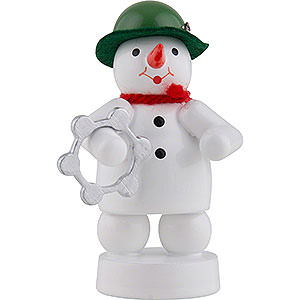Small Figures & Ornaments Zenker Snowmen Snowman Musician with Tambourine - 8 cm / 3 inch