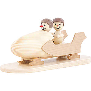 Small Figures & Ornaments Wagner Snowmen Snowman Two-Man Bobsled with Helmet - 10 cm / 3.9 inch