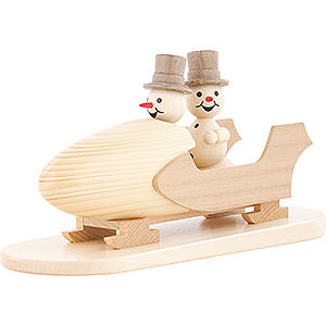 Small Figures & Ornaments Wagner Snowmen Snowman Two-Man Bobsled with Zylinder - 12 cm / 4.7 inch
