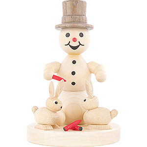Small Figures & Ornaments Wagner Snowmen Snowman with Hares - 10 cm / 3.9 inch