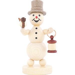 Small Figures & Ornaments Wagner Snowmen Snowman with Lantern and Bird - 12 cm / 4.7 inch