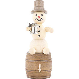 Small Figures & Ornaments Wagner Snowmen Snowman with Stein on Beer Barrel - 13 cm / 5.1 inch
