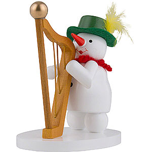 Small Figures & Ornaments Zenker Snowmen Snowwoman with Harp - 9 cm / 3.5 inch