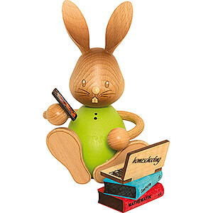 Small Figures & Ornaments Kuhnert Stupsi Rabbits Snubby Bunny Home Schooling with Laptop - 12 cm / 4.7 inch