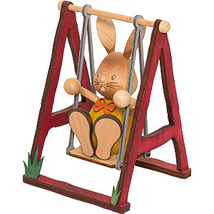 Small Figures & Ornaments Easter World Snubby Bunny on Swing - 12 cm / 4.7 inch