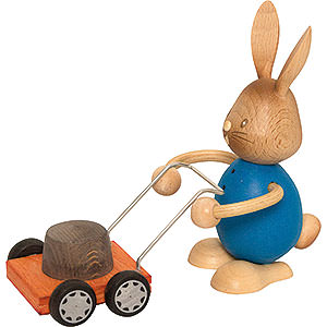 Small Figures & Ornaments Easter World Snubby Bunny with Lawn Mower - 12 cm / 4.7 inch