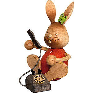Small Figures & Ornaments Easter World Snubby Bunny with Telephone - 12,5 cm / 4.9 inch