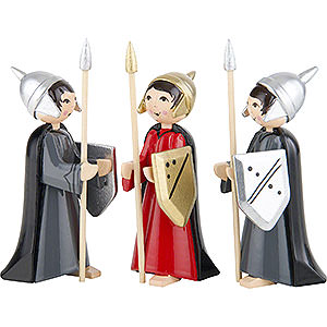 Small Figures & Ornaments ULMIK Nativity colored Soldiers, Set of Three, Colored - 7 cm / 2.8 inch