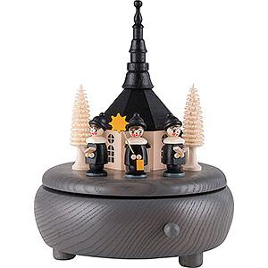 Spieldosen Weihnachten Spieldose Seiffener Kirche und Kurrende - grau - 13 cm