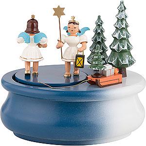 Spieldosen Weihnachten Spieldose oval mit zwei Gabenbringern, farbig - 15x12 cm