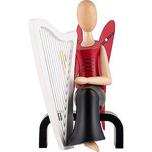 Angels Sternkopf Angels Sternkopf Angel with Harp Sitting - 15,5 cm / 6.1 inch