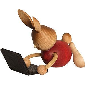 Kleine Figuren & Miniaturen Osterartikel Stupsi Hase mit Laptop - 12 cm