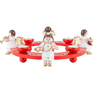 World of Light Advent Candlestick Tea Light Wreath - Angel Foursome - Red - 12 cm / 4.7 inch