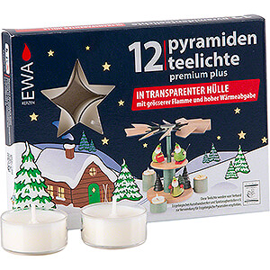 World of Light Candles Tea Lights for Christmas Pyramids, Premium Plus, 12 pcs.