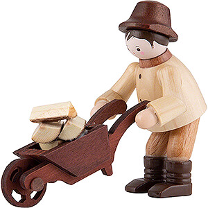 Small Figures & Ornaments Thiel Figurines Thiel Figurine - Forest Man with Wheelbarrow - natural - 6 cm / 2.4 inch