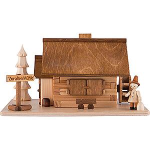 Räuchermänner Sonstige Figuren Traditionelles Rauchhaus Alte Mühle mit Wanderer - 10 cm