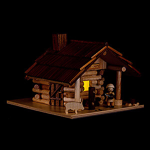 Räuchermänner Sonstige Figuren Traditionelles Rauchhaus Freiberger Hütte mit LED - 12,5 cm