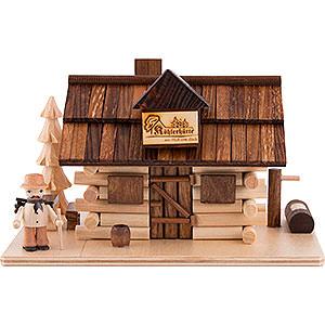 Räuchermänner Sonstige Figuren Traditionelles Rauchhaus Köhlerhütte mit Waldarbeiter und LED - 10,5 cm