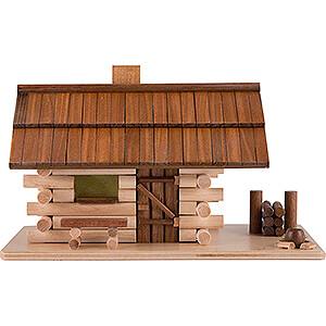 Räuchermänner Sonstige Figuren Traditionelles Rauchhaus Waldhütte mit LED - 10 cm