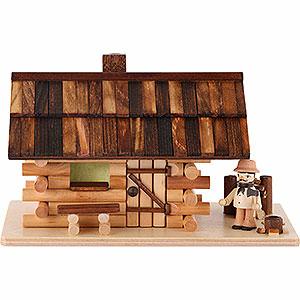 Räuchermänner Sonstige Figuren Traditionelles Rauchhaus Waldhütte mit Waldarbeiter - 10 cm