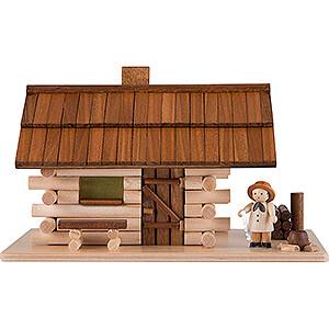 Räuchermänner Sonstige Figuren Traditionelles Rauchhaus Waldhütte mit Waldarbeiter und LED - 10 cm