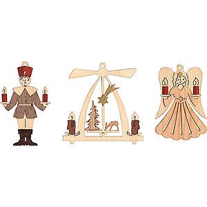 Tree ornaments Angel Ornaments Tree Ornament - Angel, Miner, Pyramid - Set of 6 - 7 cm / 2.8 inch