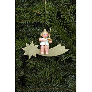 Tree ornaments Angel Ornaments Series Stars & Gold Tree Ornament - Angel and Star in Gold with Trombone - 6,5 cm / 3 inch