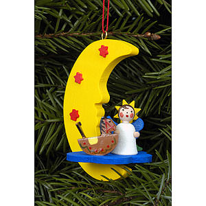 Tree ornaments Angel Ornaments Misc. Angels Tree Ornament - Angel in Moon - 4,5x6,3 cm / 2x2 inch