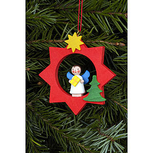 Tree ornaments Angel Ornaments Misc. Angels Tree Ornament - Angel in Red Star - 6,0x6,0 cm / 2x2 inch