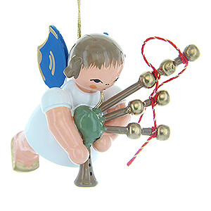 Angels Angel Ornaments Floating Angels - blue wings Tree Ornament - Angel with Bagpipe - Blue Wings - Floating - 5,5 cm / 2.2 inch