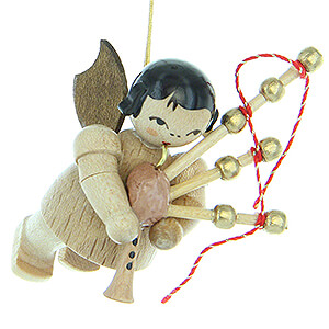 Tree ornaments Angel Ornaments Floating Angels - natural Tree Ornament - Angel with Bagpipe - Natural Colors - Floating - 5,5 cm / 2.2 inch