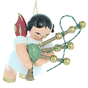 Angels Angel Ornaments Floating Angels - red wings Tree Ornament - Angel with Bagpipe - Red Wings - Floating - 5,5 cm / 2.2 inch