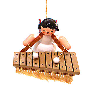 Angels Angel Ornaments Floating Angels - red wings Tree Ornament - Angel with Bass Xylophone - Red Wings - Floating - 5,5 cm / 2.2 inch