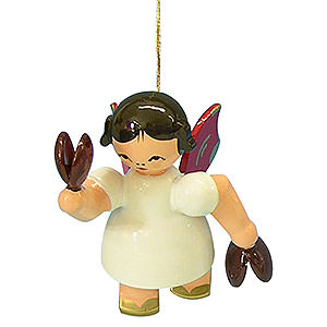 Tree ornaments Angel Ornaments Floating Angels - red wings Tree Ornament - Angel with Castanet - Red Wings - Floating - 5,5 cm / 2,1 inch