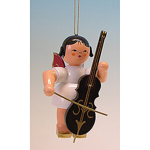 Tree ornaments All tree ornaments Tree Ornament - Angel with Cello - Red Wings - 9,5 cm / 3.7 inch