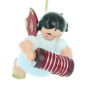 Angels Angel Ornaments Floating Angels - red wings Tree Ornament - Angel with Concertina - Red Wings - Floating - 5,5 cm / 2.2 inch