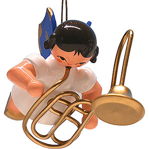 Tree ornaments Angel Ornaments Floating Angels - blue wings Tree Ornament - Angel with Contrabass Trombone - Blue Wings - Floating - 5,5 cm / 2.2 inch