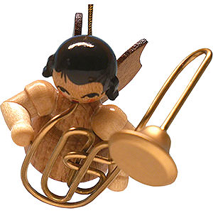 Tree ornaments Angel Ornaments Floating Angels - natural Tree Ornament - Angel with Contrabass Trombone - Natural- Floating - 5,5 cm / 2.2 inch