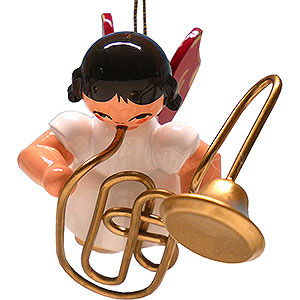 Tree ornaments Angel Ornaments Floating Angels - red wings Tree Ornament - Angel with Contrabass Trombone - Red Wings - Floating - 5,5 cm / 2.2 inch