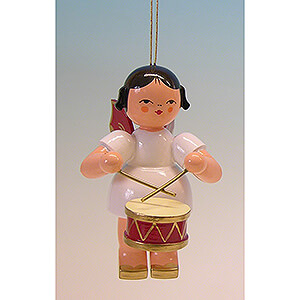Tree ornaments All tree ornaments Tree Ornament - Angel with Drum - Red Wings - 9,5 cm / 3.7 inch